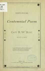 Cover of: Historical centennial poem