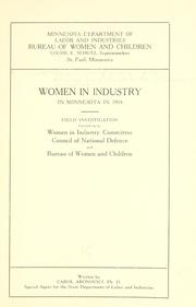 Cover of: Women in industry in Minnesota in 1918