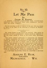 Cover of: Let me pass ..