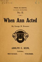 Cover of: When Ann acted ..