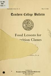 Cover of: Food lessons for nutrition classes
