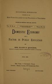 Cover of: Domestic economy as a factor in public education