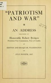 "Cover of: ""Patriotism and war"""