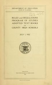 Cover of: Rules and regulations | Alabama. Dept. of Education.