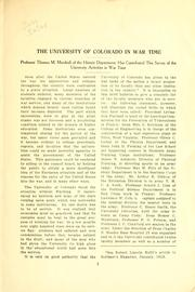Cover of: The University of Colorado in war time