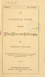 Cover of: An original poem: entitled The fire at Chicago ..