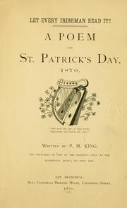 Cover of: A poem for St. Patrick's day, 1870 ..