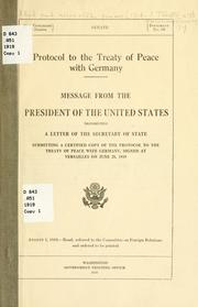 Cover of: Protocol to the Treaty of peace with Germany