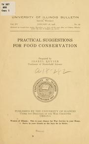 Cover of: Practical suggestions for food conservation