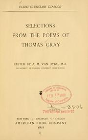 Cover of: Selections from the poems of Thomas Gray