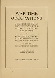 Cover of: War time occupations | Florence Ordway Bean