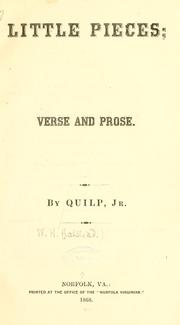 Cover of: Little pieces