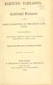Cover of: Barnum's Parnassus: being confidential disclosures of the prize committee on the Jenny Lind song
