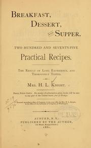 Cover of: Breakfast, dessert, and supper