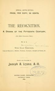 Cover of: recognition | Augustus Semonnier