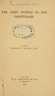 The first epistle to the Corinthians by Dods, Marcus