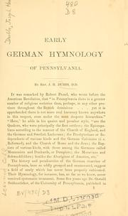 Cover of: Early German hymnology of Pennsylvania