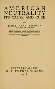 Cover of: American neutrality, its cause and cure