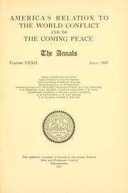 Cover of: America's relation to the world conflict and to the coming peace ..