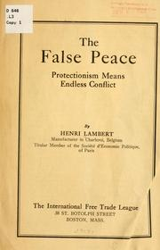 Cover of: The false peace | Henri Lambert