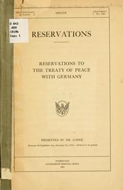 Cover of: Reservations. |