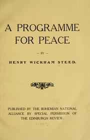 Cover of: A programme for peace