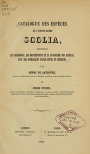 Cover of: Catalogue des espéces de l'ancien genre Scolia