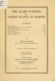 Cover of: The allies pledged to a united states of Europe ..