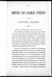 Cover of: British and Canadian citizens in the United States