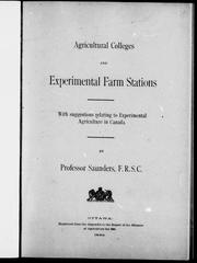 Cover of: Agricultural colleges and experimental farm stations