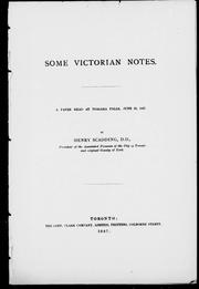 Cover of: Some Victorian notes: a paper read at Niagara Falls, June 22, 1887