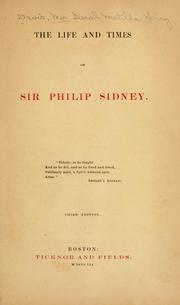 Cover of: life and times of Sir Philip Sidney. | Sarah Matilda Henry Davis