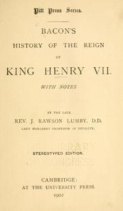 Cover of: Bacon's History of the reign of King Henry VII