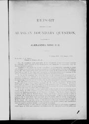 Cover of: Report relative to the Alaskan boundary question