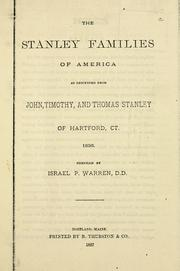 Cover of: The Stanley families of America | Israel P. Warren