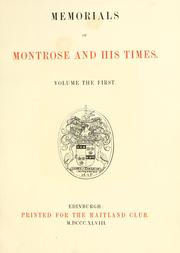 Cover of: Memorials of Montrose and his times