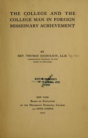 Cover of: The college and the college man in foreign missionary achievement