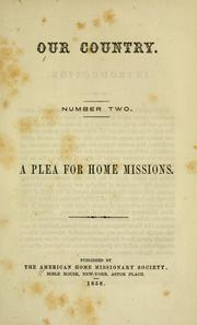 Cover of: A plea for home missions. |