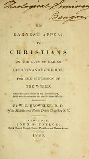 Cover of: An Earnest appeal to Christians on duty of making efforts and sacrifices for conversion of the world