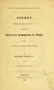 Cover of: The duty of Christians to pray for the missionary cause