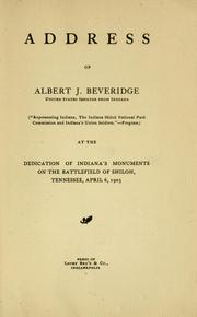 Cover of: Address of Albert J. Beveridge