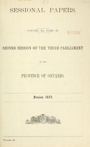 ONTARIO SESSIONAL PAPERS by ONTARIO.  LEGISLATIVE ASSEMBLY