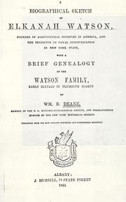 Cover of: biographical sketch of Elkanah Watson | William Reed Deane
