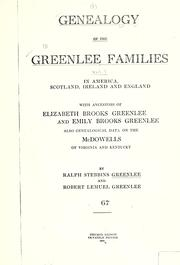 Cover of: Genealogy of the Greenlee families by Ralph Stebbins Greenlee
