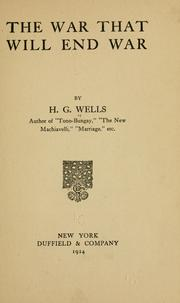 Cover of: The war that will end war