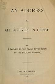 An address to all believers in Christ by David Whitmer