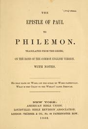 Cover of: The Epistle of Paul to Philemon |
