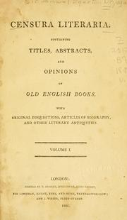 Cover of: Censura literaria | Brydges, Egerton Sir