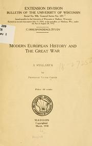 Cover of: Modern European history and the great war | Victor Coffin