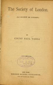 Cover of: The society of London